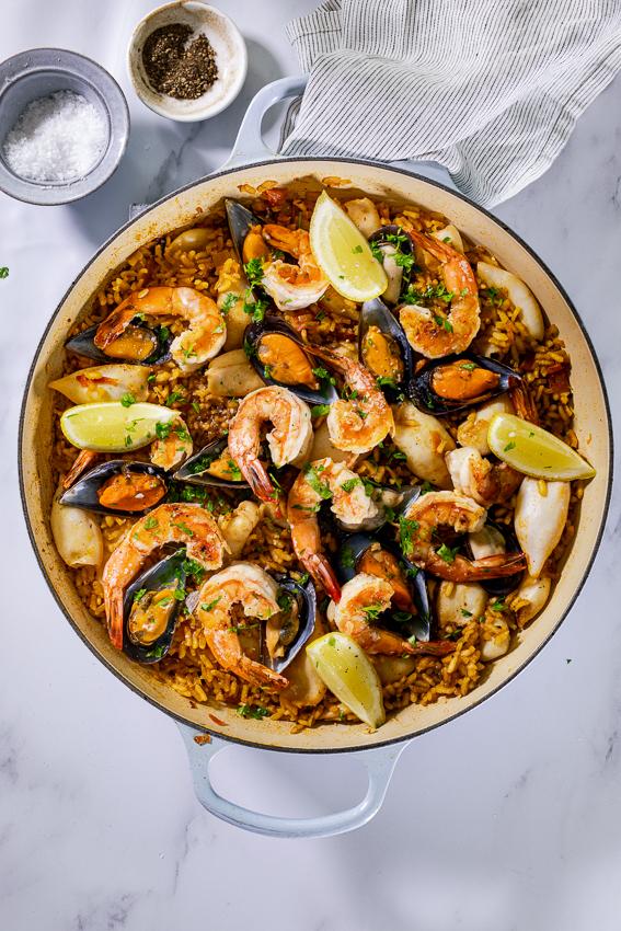 Seafood paella with shrimp, mussels and calamari.