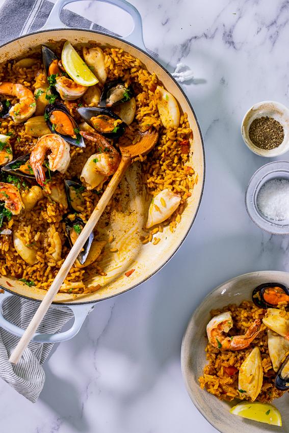 Paella made with shrimp, calamari and mussels.