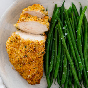 Bacon-crusted chicken breasts