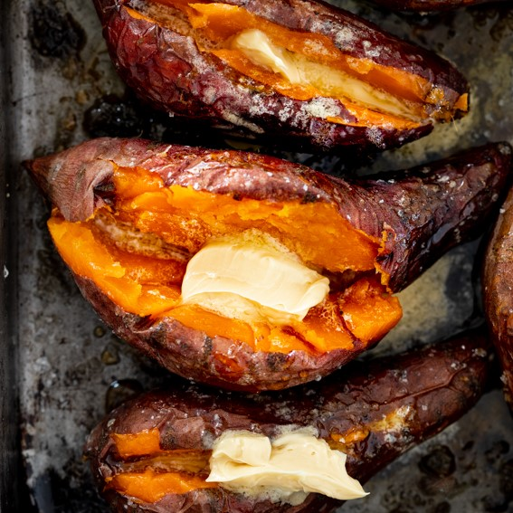 Baked Sweet Potato With Whipped Honey Butter Simply Delicious