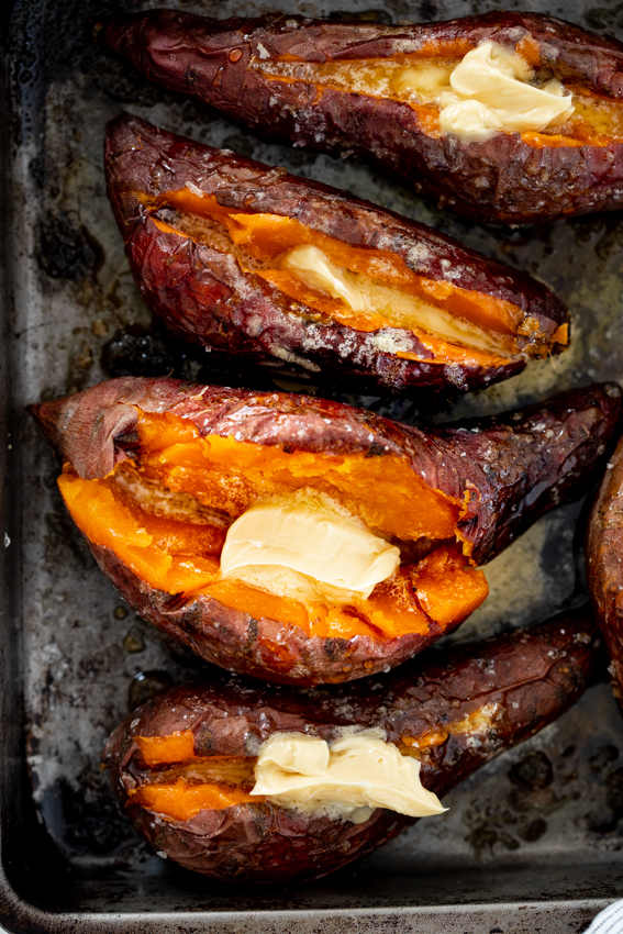 Baked sweet potato with whipped honey butter