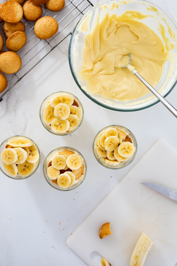 Banana pudding made from scratch with Nilla wafers and fresh bananas.