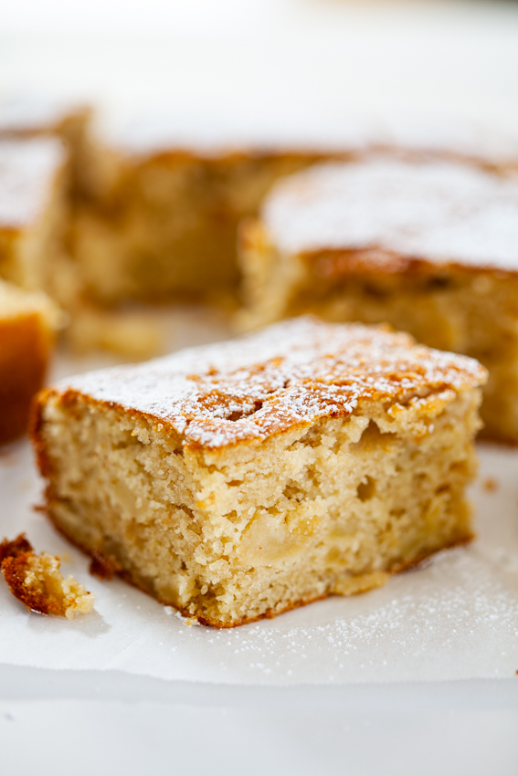 Apple cake with caramelized apples.