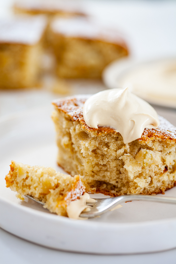 Caramel apple cake with dulce de leche whipped cream.