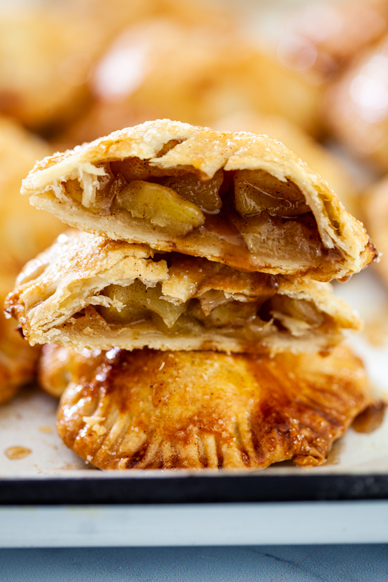Cinnamon-scented apple filling in crisp pastry.
