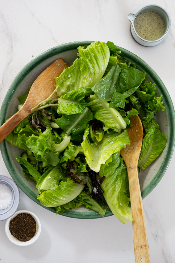 Easy green salad with lemon Parmesan dressing.