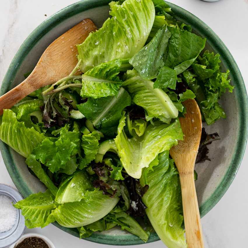 Easy Green Salad With Lemon Parmesan Dressing Simply Delicious