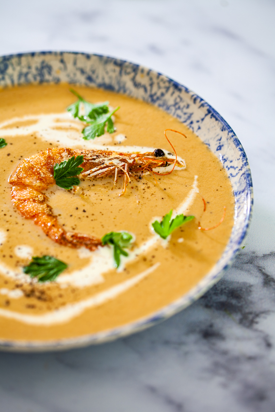 This bisque made with shrimp/prawns, aromatics and cream is a show stopping recipe.