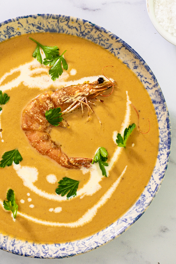 Prawn bisque made with jumbo shrimp / prawns and aromatics.
