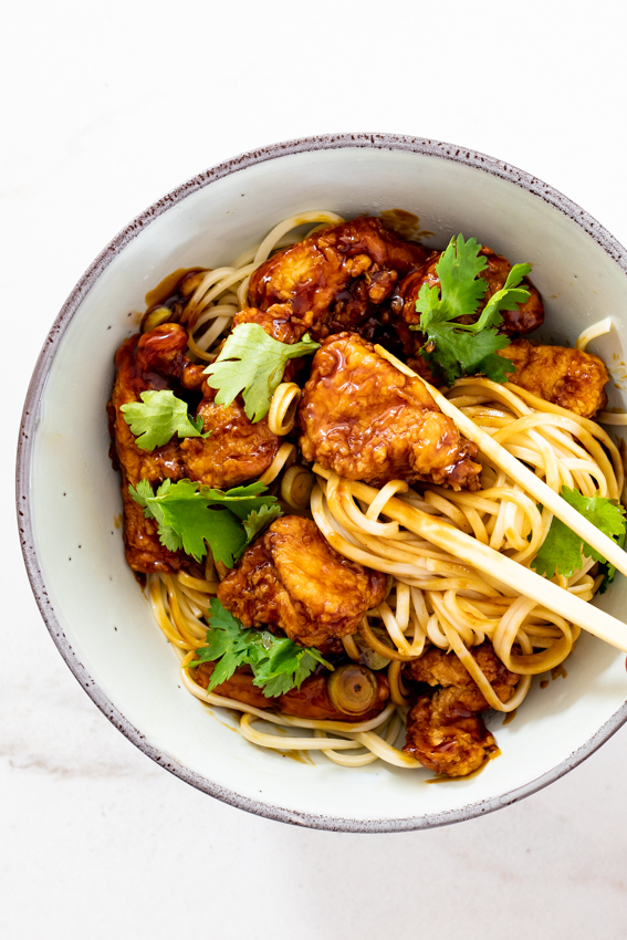 Sticky soy honey Chicken and Noodles