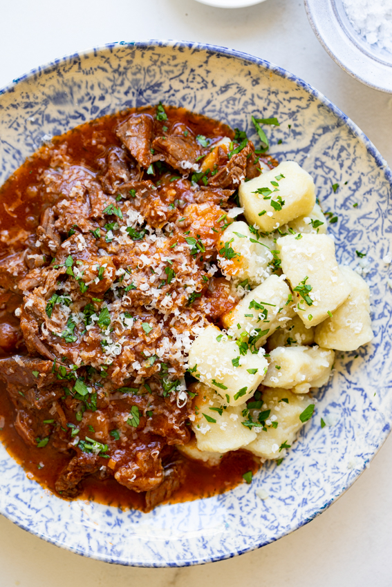 Slow cooked beef Ragu with fluffy Parmesan gnocchi.