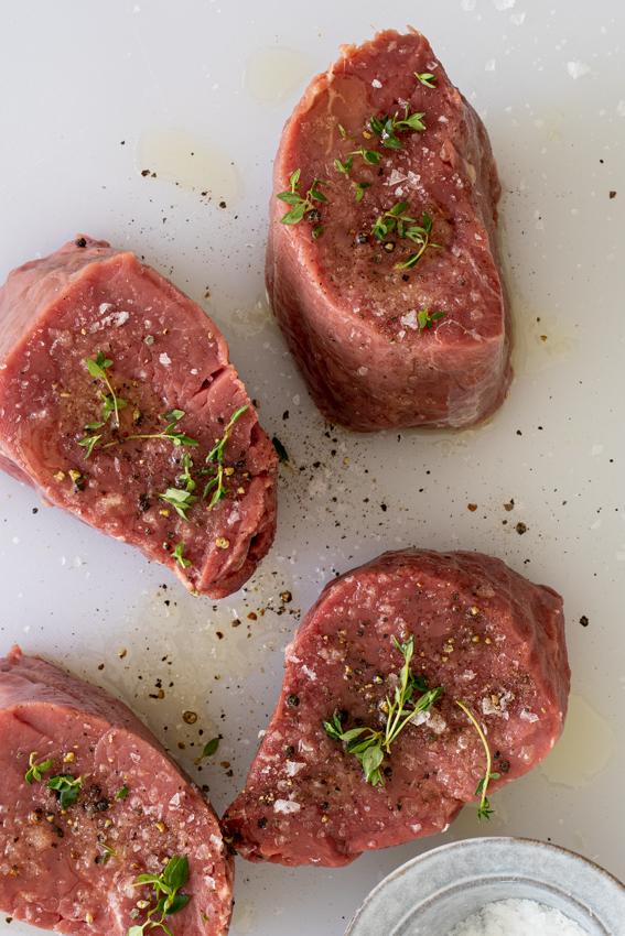 Beef tenderloin seasoned with salt, pepper and thyme.