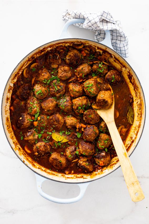 Boeuf Bourguignon meatballs
