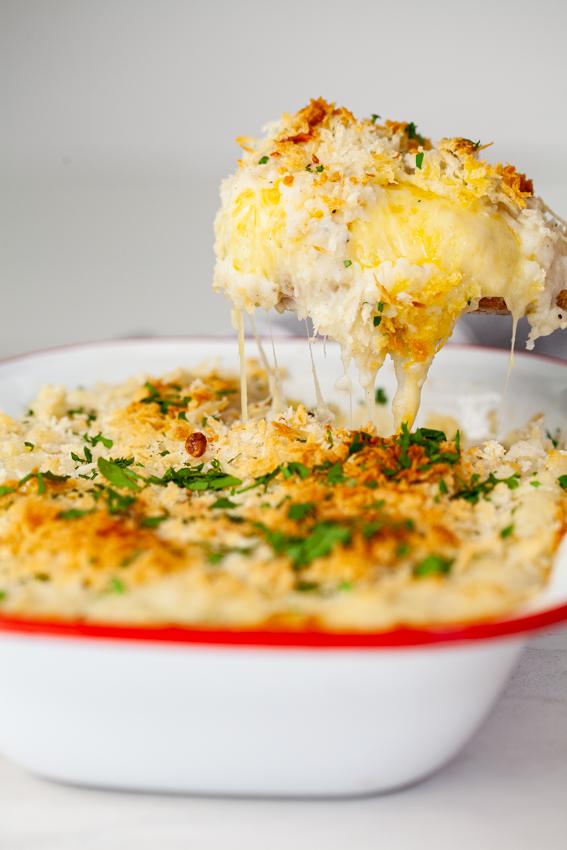 Cheese-stuffed mashed potato casserole
