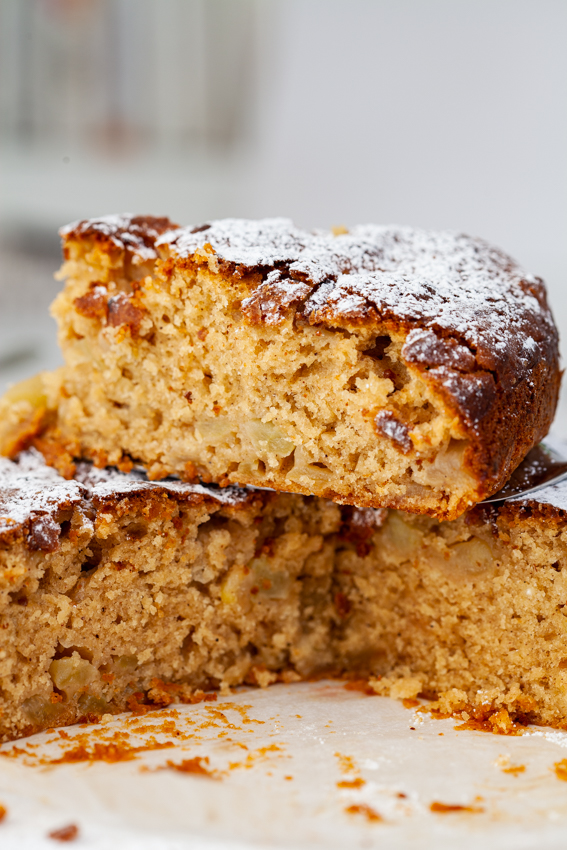 Moist and delicious apple cinnamon cake.