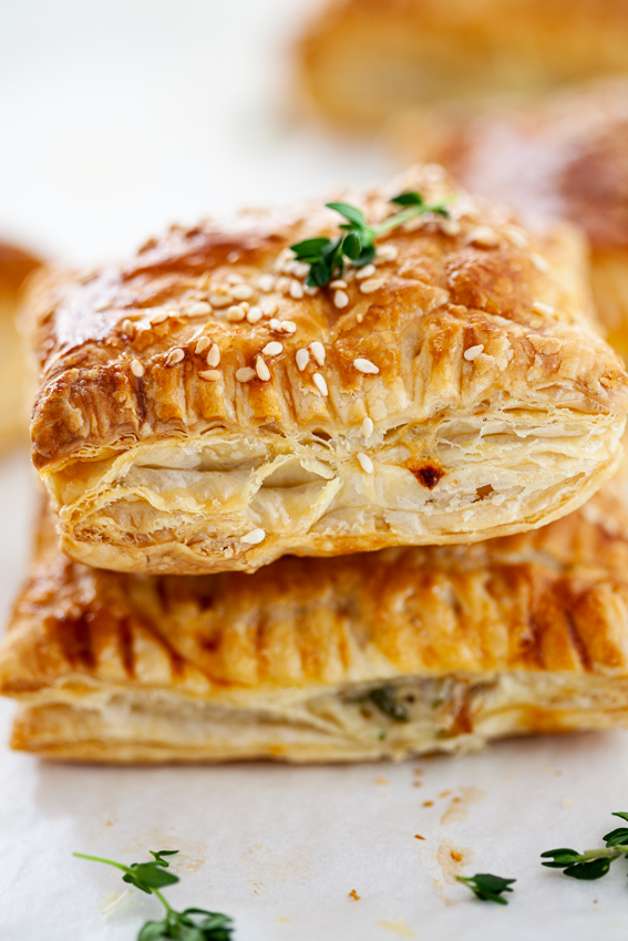Crisp, golden puff pastry filled with creamy chicken filling.