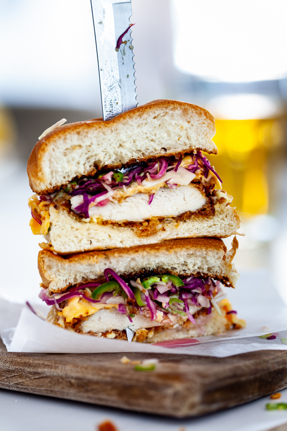 Juicy fried chicken sandwich with spicy slaw.