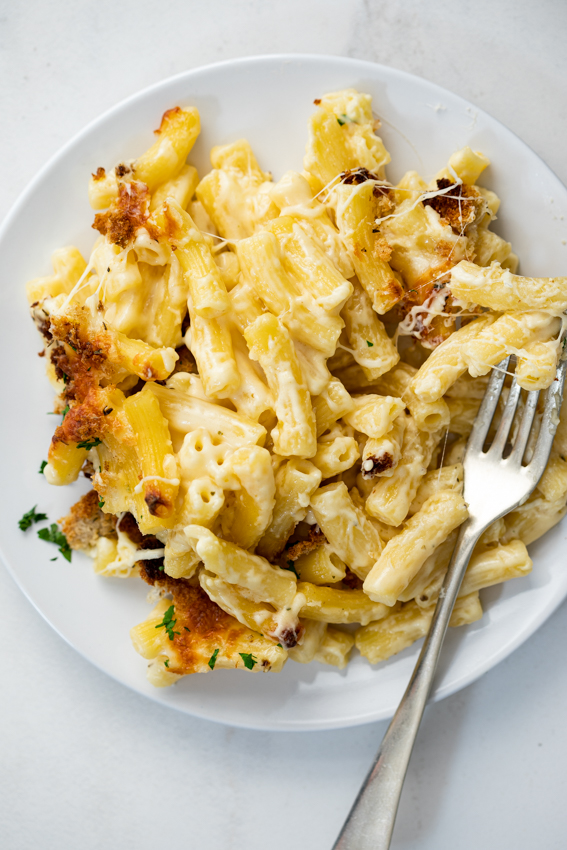 Creamy, cheesy mac and cheese with crispy thyme breadcrumb topping.