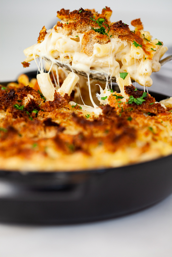 Four cheese baked mac and cheese with thyme breadcrumbs