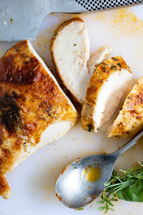 Juicy roast turkey flavored with garlic and herbs.