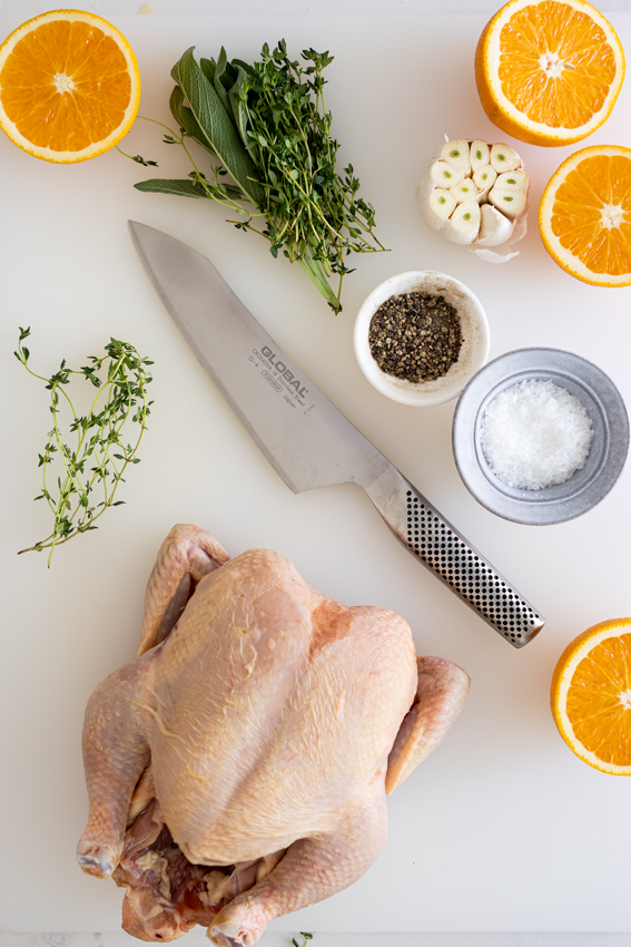 Christmas chicken flavored with orange, sage, thyme and garlic.