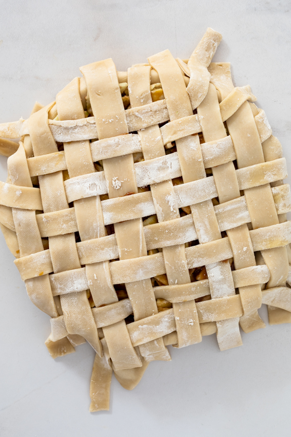 Lattice topped Salted caramel apple pie
