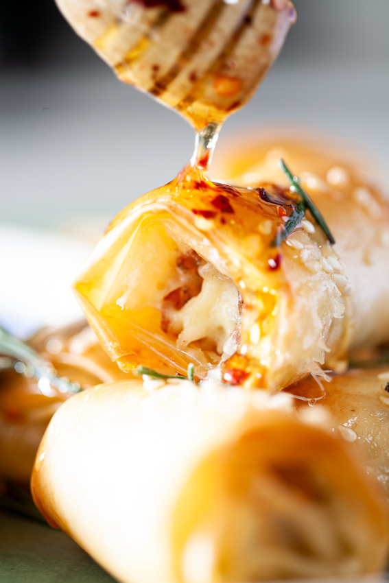 Airfryer Brie Prosciutto Phyllo Rolls with chilli honey