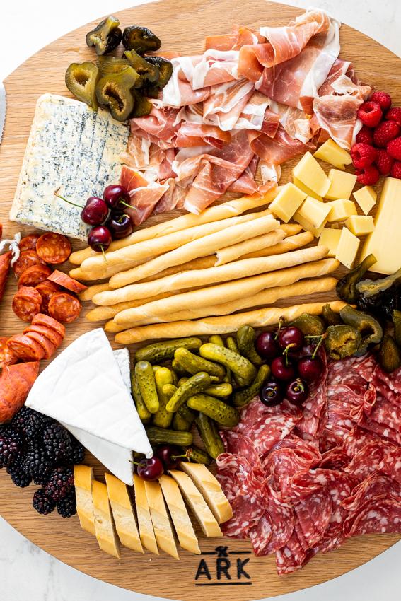 Easy Charcuterie board with salami, chorizo and Parma ham.