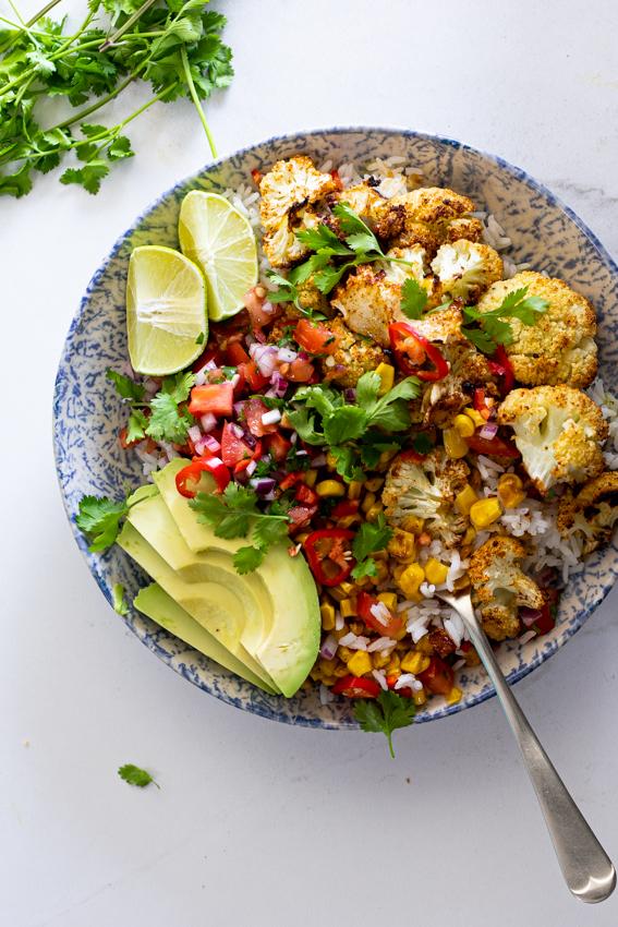 Chipotle cauliflower burrito bowls