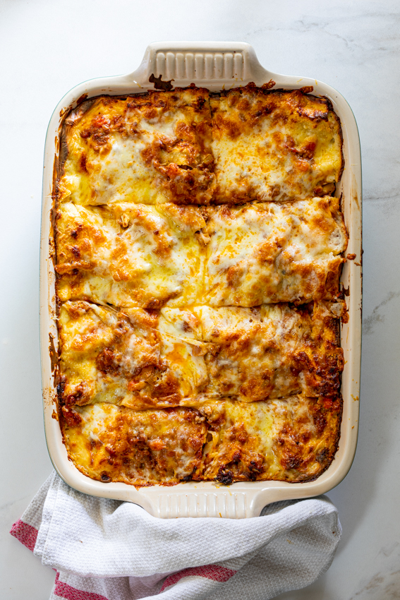 Homemade lasagna with from-scratch Bechamel sauce and Bolognese.