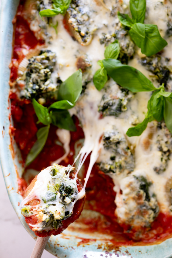 Super cheesy spinach stuffed shells.