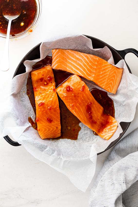 Salmon with sweet chilli glaze.