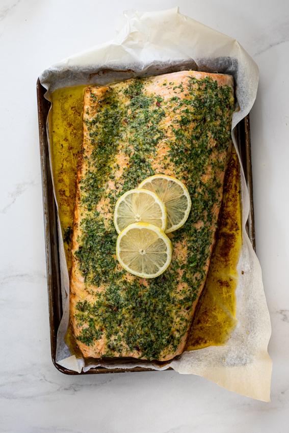 Garlic herb crusted baked salmon