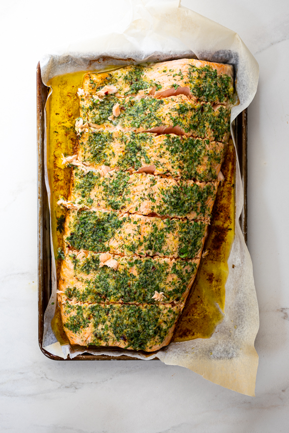 Easy Garlic Herb Butter Baked Salmon