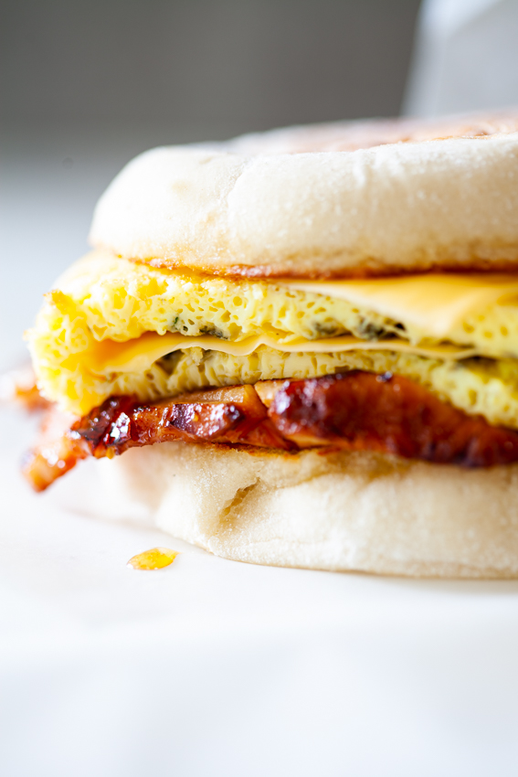 Leftover ham, egg and cheese breakfast sandwich.