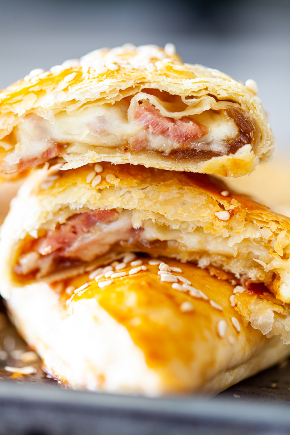 Cheese and leftover ham puff pastry pies.