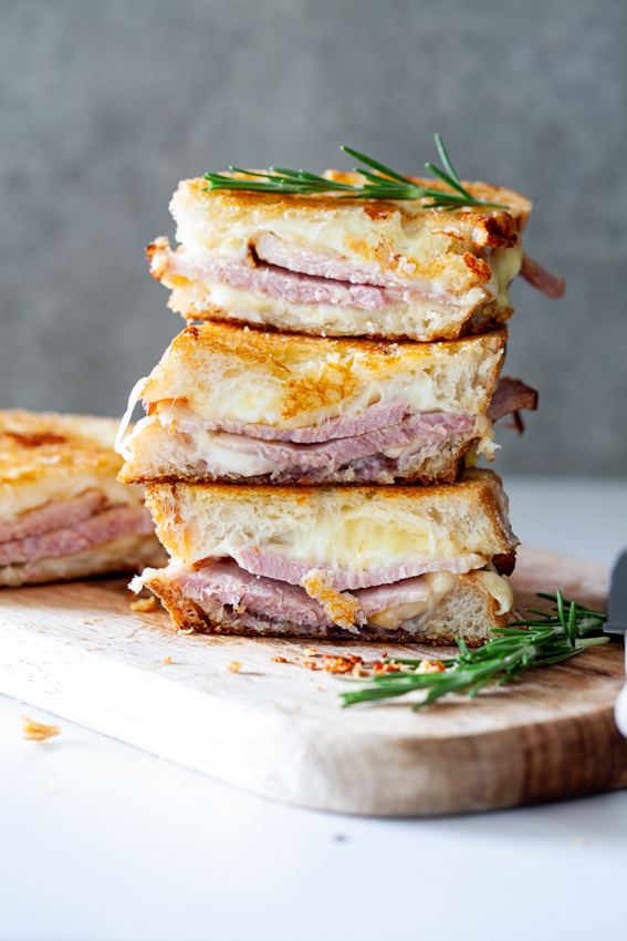 Leftover Christmas ham (gammon) with melty cheese and preserves is the perfect recipe to make with leftovers.
