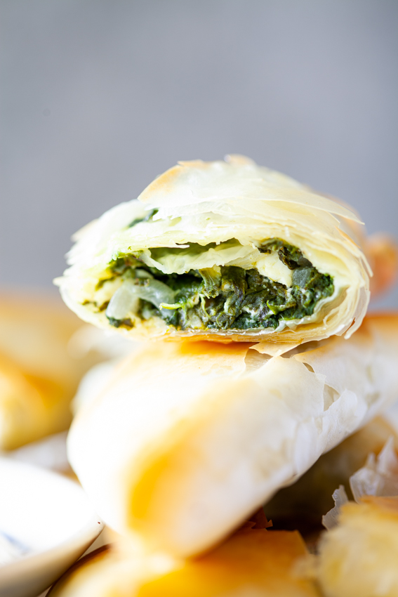 Creamy spinach and feta spanakopita.
