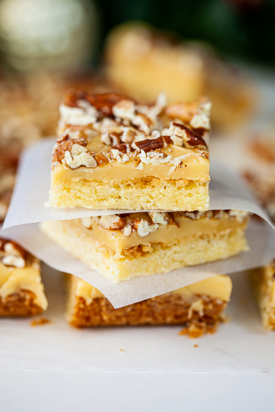 Buttery shortbread topped with a layer of caramel and pecans.