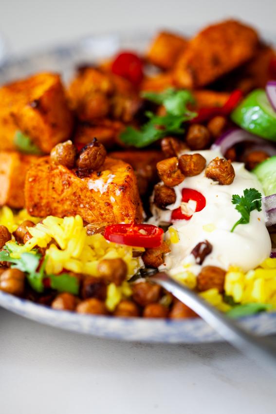 Tandoori sweet potato rice bowl with crispy chickpeas
