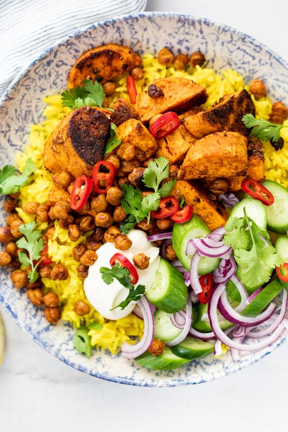 Tandoori sweet potato rice bowls