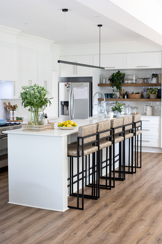 White kitchen design with center island