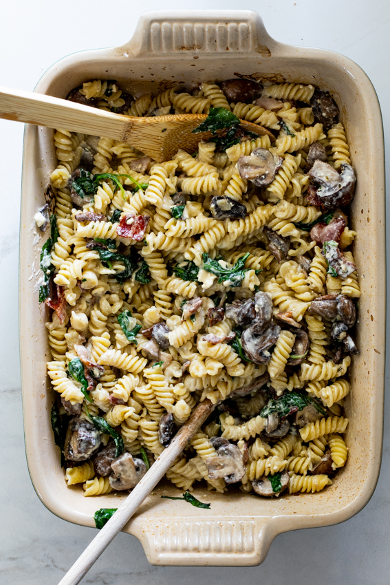Easy Baked Feta Pasta with bacon and mushrooms