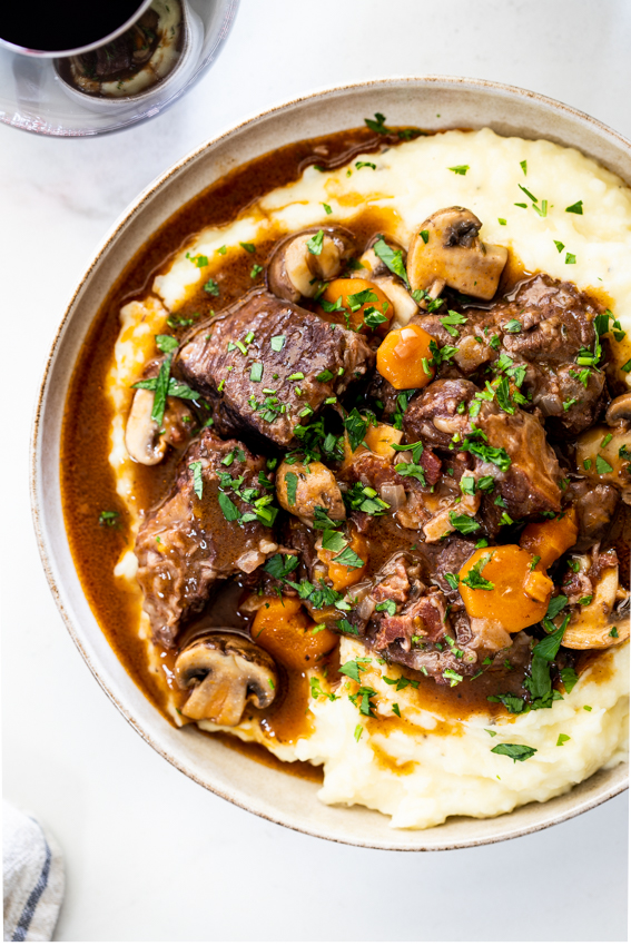 Instant Pot Boeuf Bourguignon with creamy mashed potatoes
