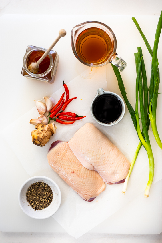 Pan Seared Duck Breast with Honey-Soy glaze ingredients