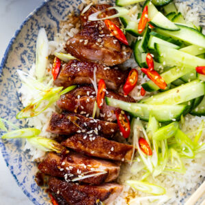 Seared duck breasts with soy honey pan sauce