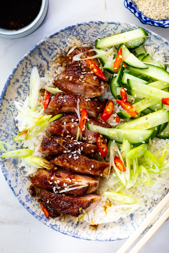 Pan Seared Duck Breast with Honey-Soy glaze