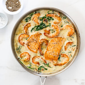 Creamy Tuscan salmon shrimp pasta
