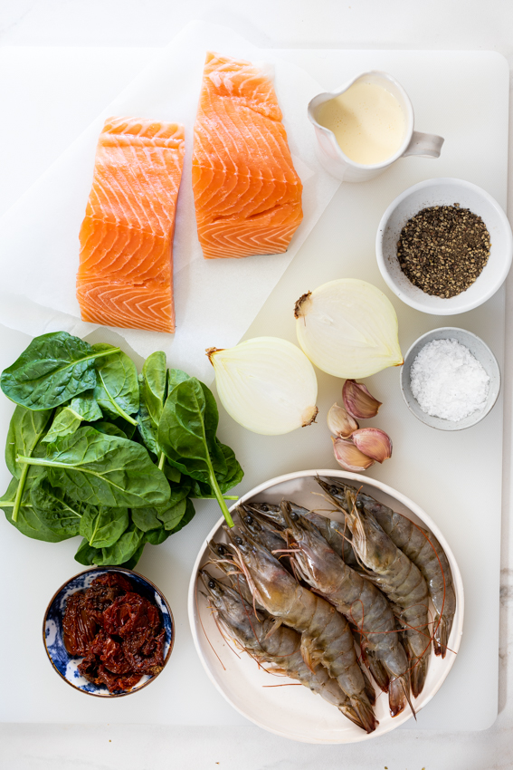 Creamy Tuscan salmon shrimp pasta ingredients