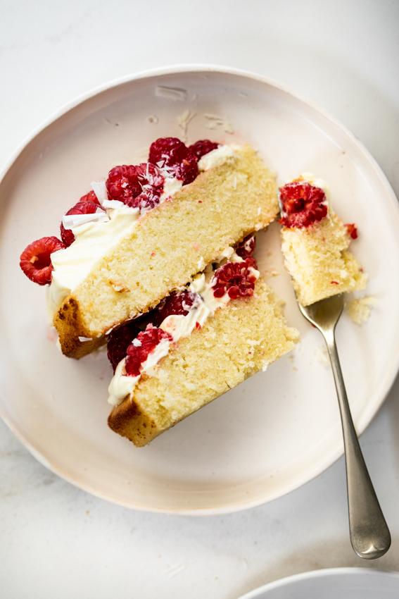 Light and fluffy white chocolate raspberry cake.